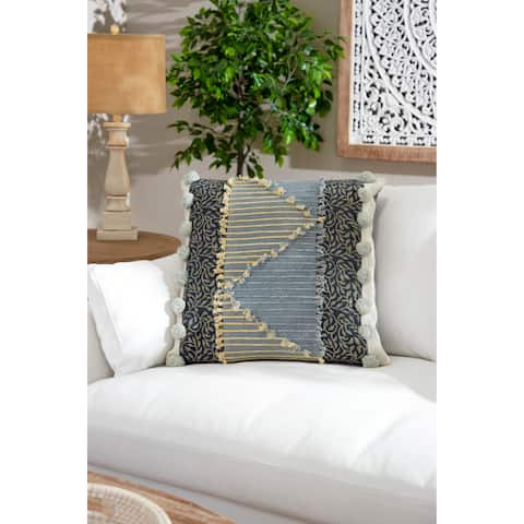 Multi-Patterned Decorative Throw Pillow w/ Pompoms & Rope Detail