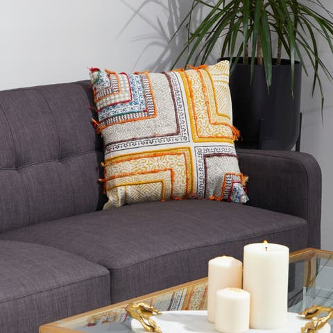 "Decorative Throw Pillow w/ Vintage Boho Patterns 20"" by Studio 350"