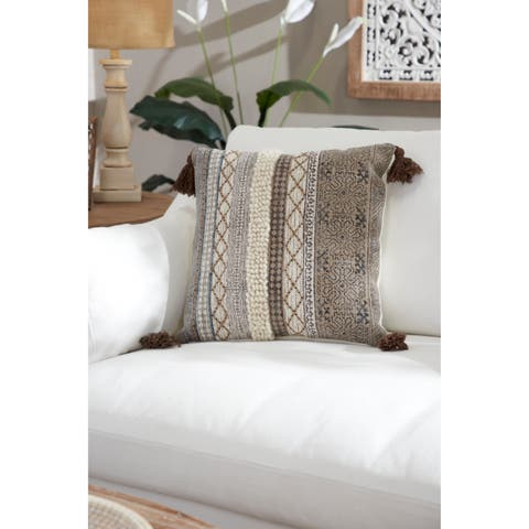 "Decorative Throw Pillow w/ Boho Pattern & Tassels 20"""
