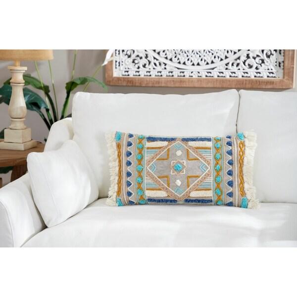 Shop Decorative Throw Pillow W/ Boho Pattern & Fringe