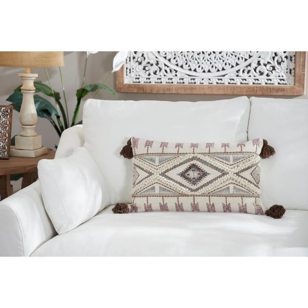 "Decorative Throw Pillow w/ Boho Pattern & Tassels 24"" x 14"""