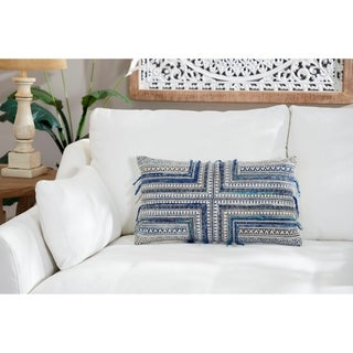 Striped Decorative Throw Pillow w/ Boho Patterns & Fringe Detail