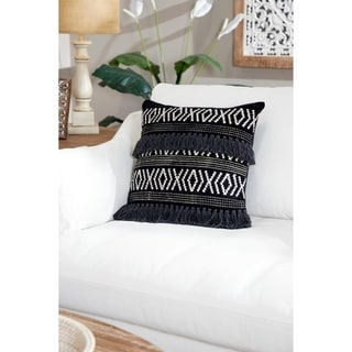 Decorative Throw Pillow w/ Boho Diamond Design & Yarn Tassels