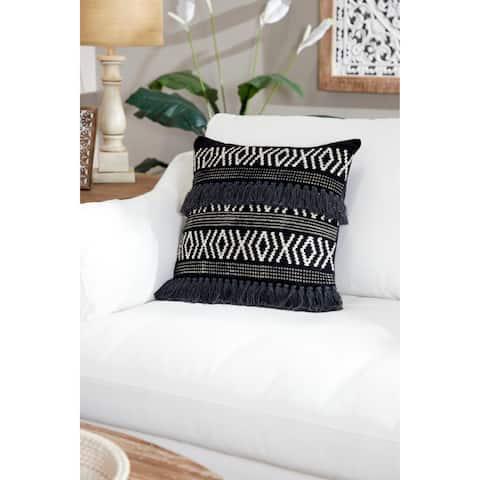 Decorative Throw Pillow w/ Boho Diamond Design & Yarn Tassels