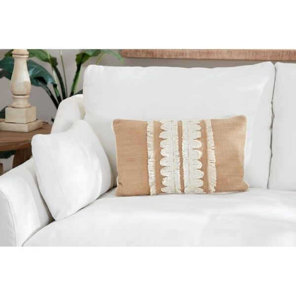 Decorative Throw Pillow w/ Embroidery & Fringe Detail