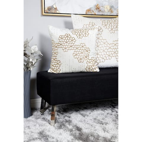 Velvet Decorative Throw Pillow w/ Beaded Honeycomb Pattern