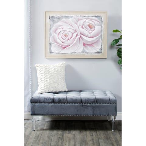 Velvet Decorative Throw Pillow w/ Dimensional Trellis Pattern