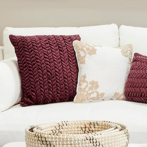 Velvet Decorative Throw Pillow w/ Smocked Braid Pattern
