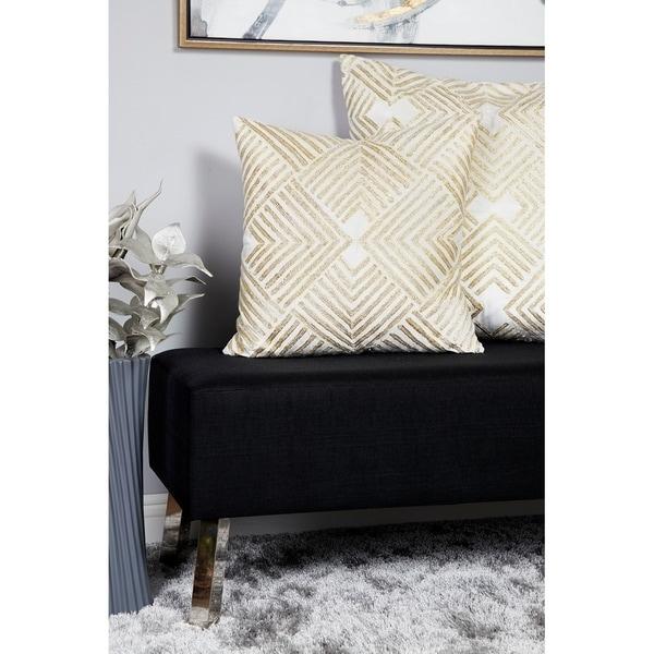 Silver Orchid Robey Velvet Metallic Throw Pillow