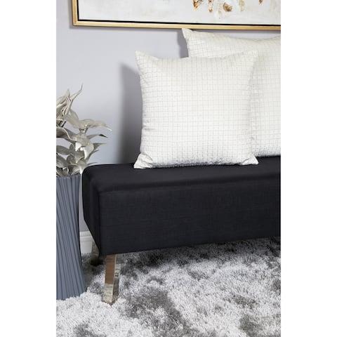Velvet Throw Pillow w/ Crisscross Pattern & Crystal Bugle Beads
