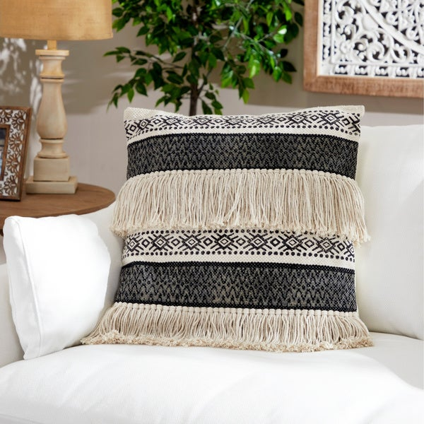 The Curated Nomad Boho Tribal Design 20-inch Throw Pillow with Yarn Tassels