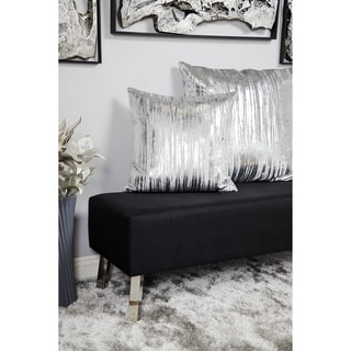 Silver Orchid Bush Velvet & Metallic Decorative Throw Pillow