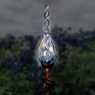 36 Inch Solar Pearlized Glass Flame Garden Stake with Finial