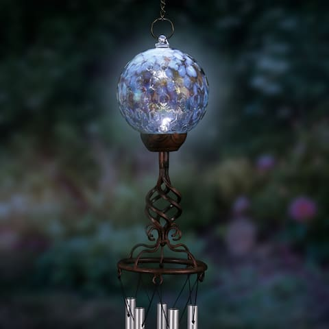 Solar Pearlized Glass Honeycomb Ball with Metal Finial Wind Chime