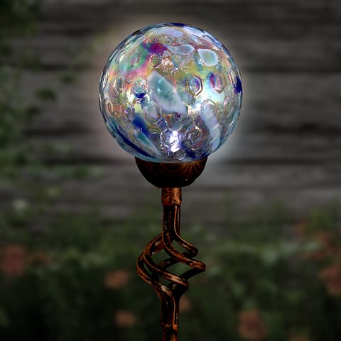 Solar Pearlized Glass Honeycomb Finial Garden Stakes
