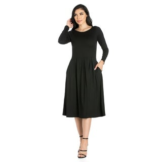 24seven Comfort Apparel Long Sleeve Fit and Flare Midi Dress