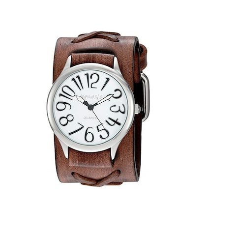 Nemesis White/Silver Always Summer Ladies Watch with Faded Brown X Leather Cuff Band BFX108W