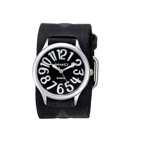 Nemesis Black Always Summer Watch with Faded Black Vintage Star Leather Cuff Band FST108K