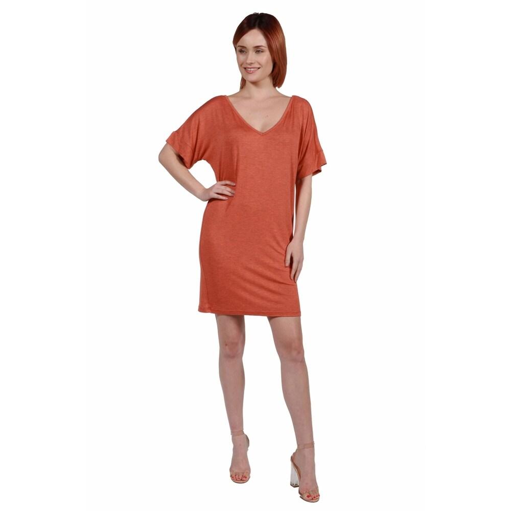 24seven Comfort Apparel Womens V Neck Loose Fit Resort T Shirt Dress