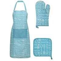 Kitchen Printed 3 Pieces Apron Oven Mit Pot Holder Set