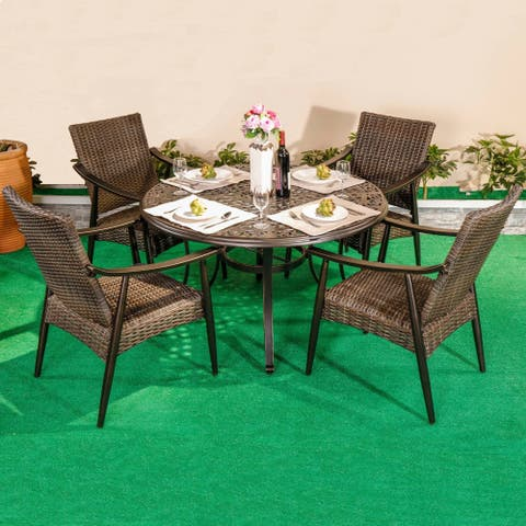 Outdoor 5 Piece Wicker Dining Set Patio Furniture