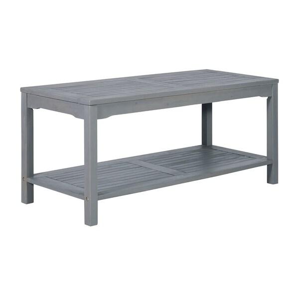 Grey Solid Wood Coffee Table: Shop Outdoor Solid Acacia Wood Patio Coffee Table