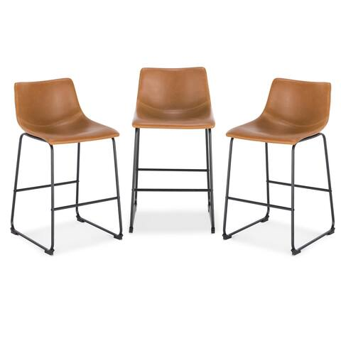 EdgeMod Brinley Steel Counter Stools (Set of 3)