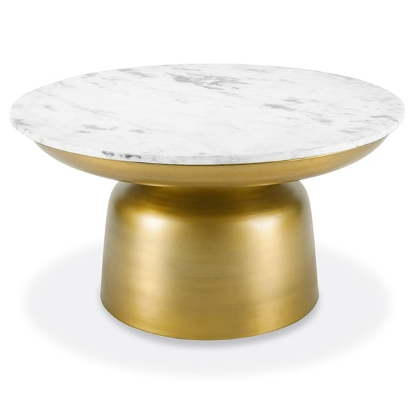 Poly and Bark Signy Coffee Table with Marble Top in Antique Brass