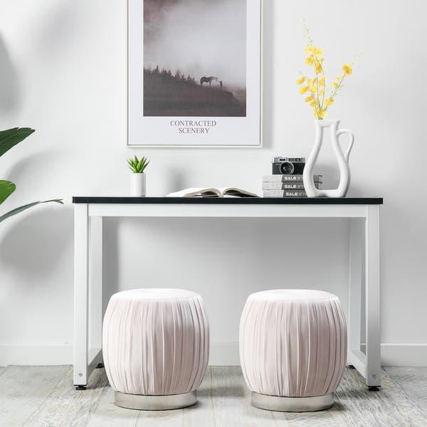 Wondrous Shop Art Leon Pleated Velvet Round Vanity Ottoman Stool With Andrewgaddart Wooden Chair Designs For Living Room Andrewgaddartcom