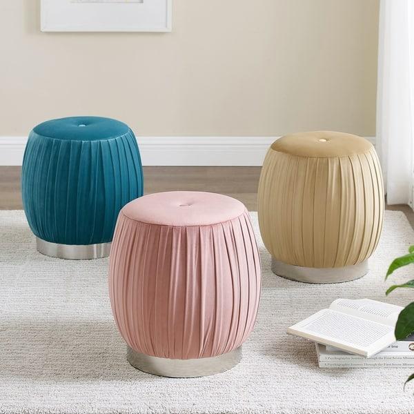 Incredible Shop Art Leon Pleated Velvet Round Vanity Ottoman Stool With Beatyapartments Chair Design Images Beatyapartmentscom