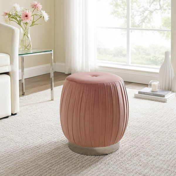 Magnificent Shop Art Leon Pleated Velvet Round Vanity Ottoman Stool With Andrewgaddart Wooden Chair Designs For Living Room Andrewgaddartcom