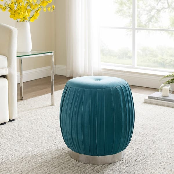 Cool Shop Art Leon Pleated Velvet Round Vanity Ottoman Stool With Andrewgaddart Wooden Chair Designs For Living Room Andrewgaddartcom