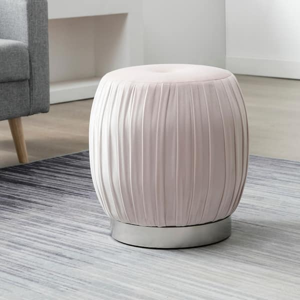 Brilliant Shop Art Leon Pleated Velvet Round Vanity Ottoman Stool With Andrewgaddart Wooden Chair Designs For Living Room Andrewgaddartcom