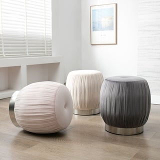 Art-Leon Pleated Velvet Round Vanity Ottoman Stool with Silver Base