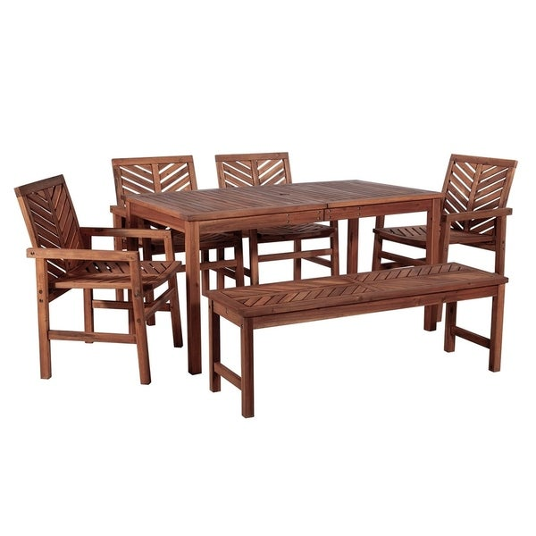 8705659fac96 Shop 6 Piece Chevron Solid Acacia Wood Outdoor Patio Dining Set - Dark  Brown - Free Shipping Today - Overstock - 27988031