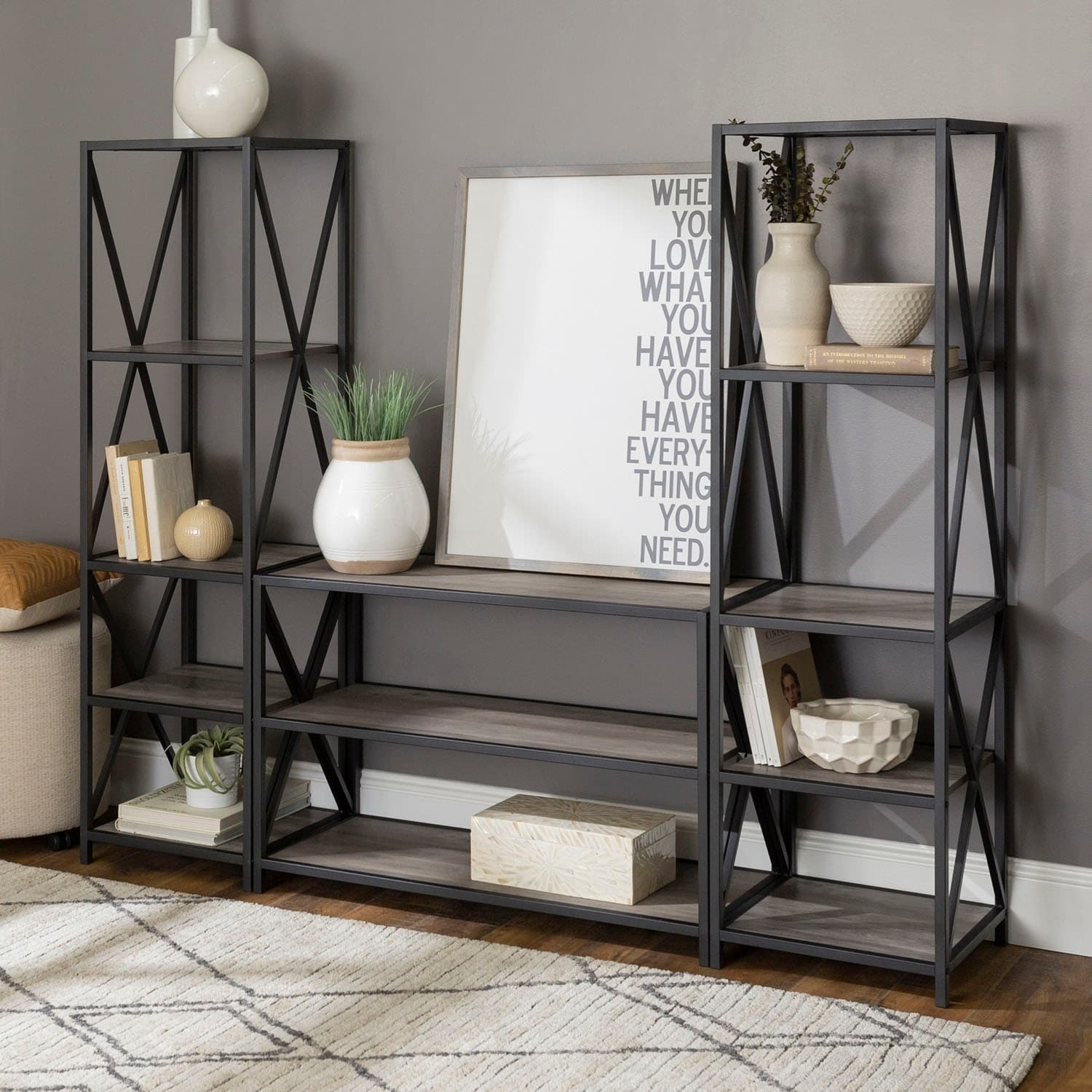 3 Piece Rustic Industrial Wood And Metal Bookcase Set Grey Wash