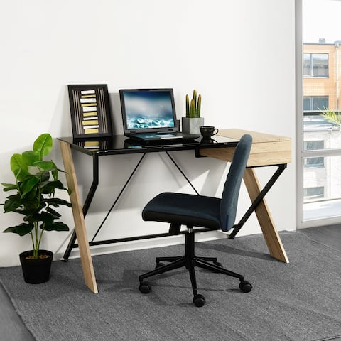 Carson Carrington Falvi Black Contemporary Office Desk