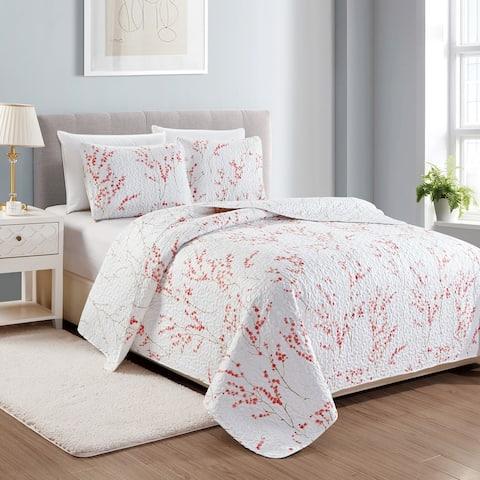 Sakura Floral Printed 3-Piece Quilt Set