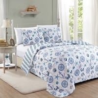 Azure Coastal Collection 3 Piece Quilt Set