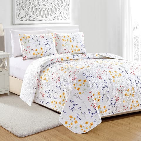 Marianne Floral Printed 3-Piece Quilt Set
