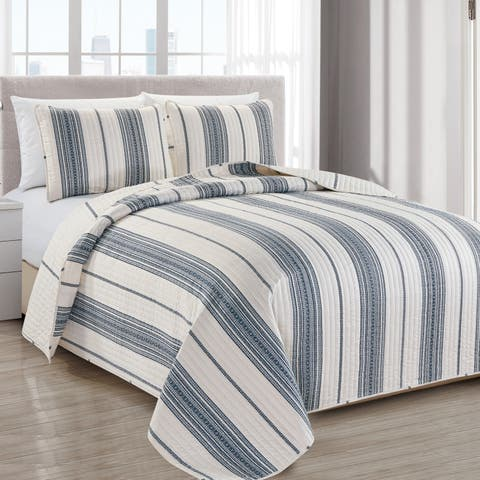 Wesley Striped 3-piece Quilt Set