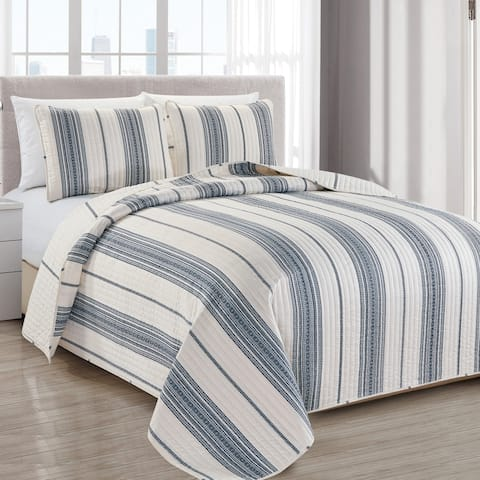 Wesley Collection 3-Piece Reversible Striped Quilt Set with Shams