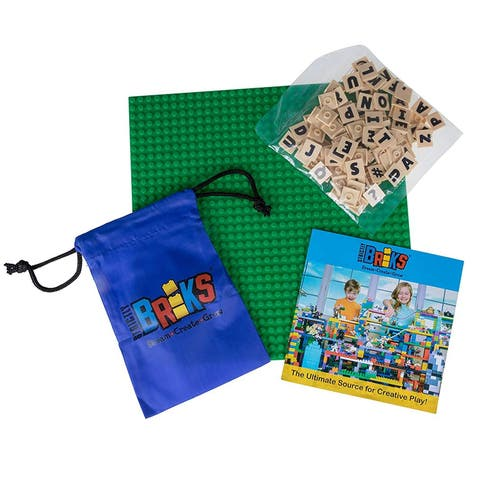 """Strictly Briks AlphaBriks Construction Building Set - 100 Letter Tiles and (1) 10"""" x10"""" Stackable Baseplate"""