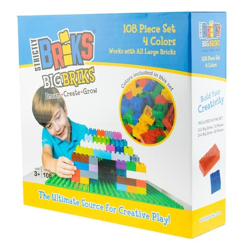 Strictly Briks Big Briks Brick Construction Set - 108 Pieces - Blue, Green, Red, Yellow