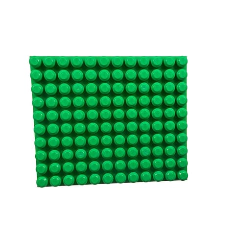 """Strictly Briks Beginner Briks Brick Construction Stackable Baseplate (12.5"""" x 15"""", 10 x 12 pegs) Green"""