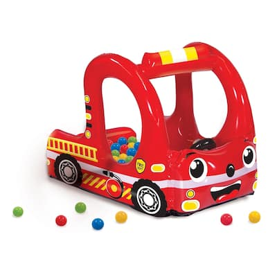 Rescue Fire Truck Play Center Inflatable Ball Pit Includes 20 Balls