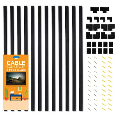 Cable Concealer On-Wall Cord Cover 12 Raceway Kit - Cable Management System to Hide Cables, Cords or Wires
