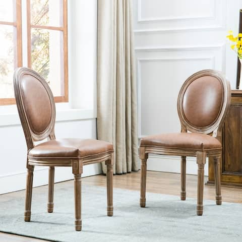 Art-Leon Vintage Faux Leather Round Back Wood Dining Chairs (Set of 2)