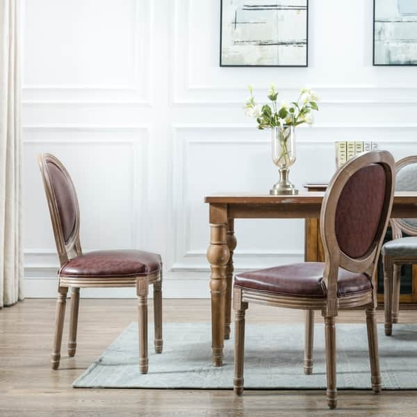 Art Leon Vintage Faux Leather Round Back Wood Dining Chairs Set Of 2 Overstock 27988690