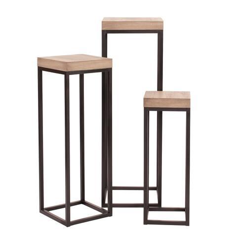 Wood & Metal Pedestals - Set of 3